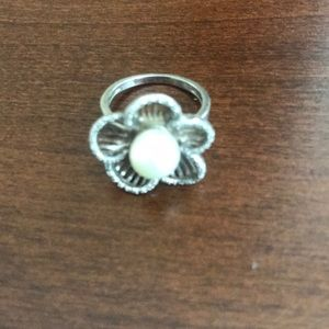 Sterling silver flower, diamond and pearl …